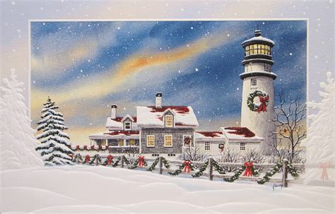 nautical cape cod christmas cards lighthouse and nautical cards