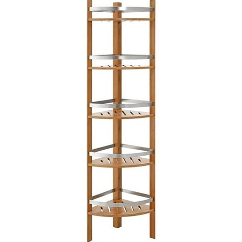 Bamboo Bathroom Shelving Altra Furniture Bamboo Bathroom Corner Tower W 5 Shelves Cherry Towel Rack Ebay