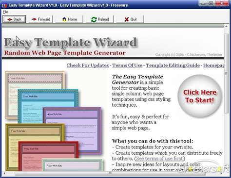 download free easy web page template wizard easy web page