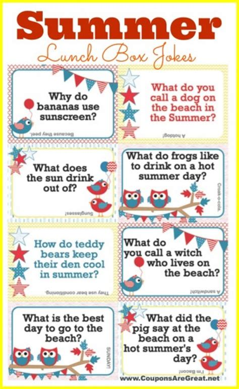 printable one liner jokes printable summer lunch box notes using summer jokes for kids