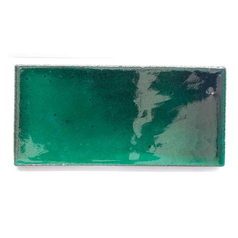 Handmade Glass Tiles - m085 special green metro 6 x 13cm milagros