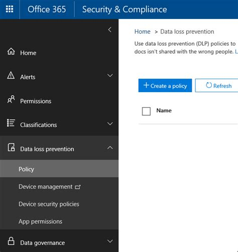 Create A Dlp Policy From A Template Office 365 Data Center Security Policy Template