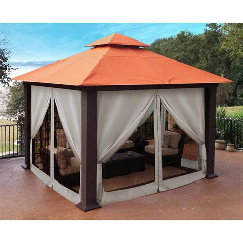 gazebo privacy curtains paragon 12 ft x 12 ft sunbrella top gazebo with privacy