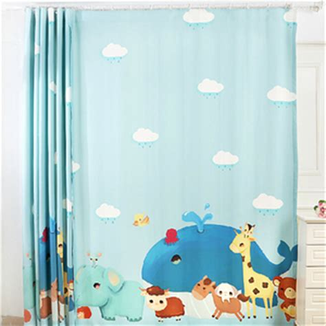 Lovely Fish Teal Color Blackout Nursery Curtains For Kids Baby Blue Curtains Nursery