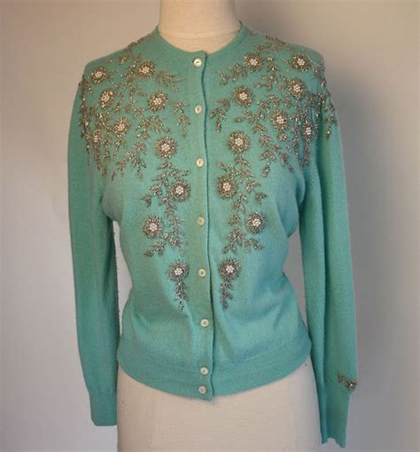 beaded cardigan aqua mint vintage beaded cardigan c a r d i g a n