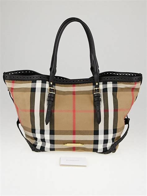 Burberry Check Canvas Tote by Burberry Black Leather House Check Canvas Tote Bag Yoogi