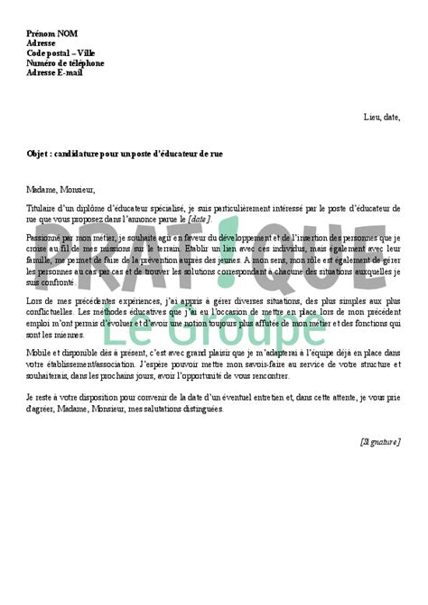 Modèle De Lettre De Motivation Pour Emploi Spontané Lettre De Motivation Educateur Employment Application