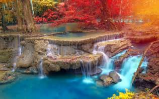 colorful waterfalls landscape waterfall nature trees thailand fall