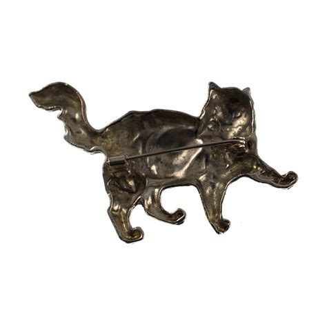 Metal Brooch antiques atlas vintage silver metal cat brooch pin