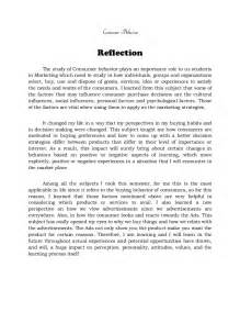 Reflective Essays On Learning Experiences by Reflection On Consumer Behavior Methods Of Research And Product Mana