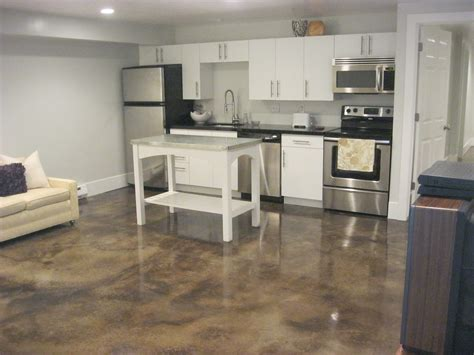 concrete floor apartment decor polished concrete floors and sofa with white
