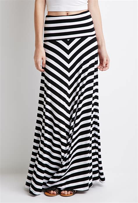 forever 21 stripe maxi skirt in black lyst