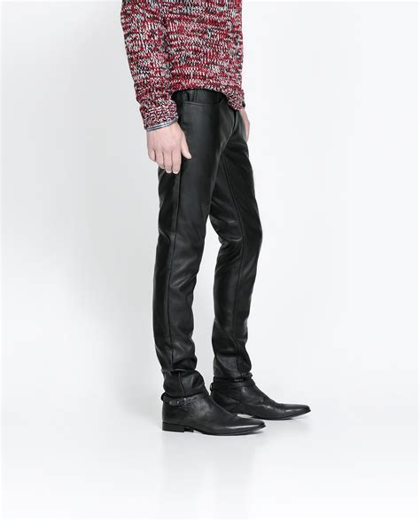 zara synthetic leather trousers with zara faux leather trousers in black for lyst