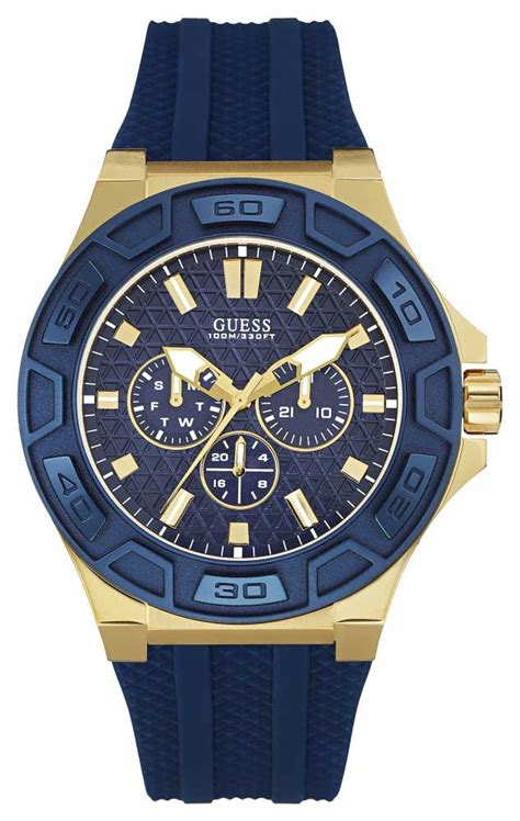 guess mens blue silicone w0674g2