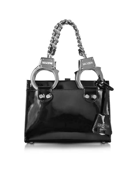 Moschino Patent Shopper Bag moschino black patent leather handbag in black lyst