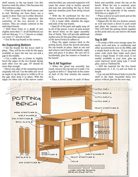 potting bench woodworking plans potting bench plans woodarchivist