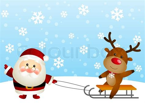 Home Design Credit Card cute santa with funny deer stock vector colourbox