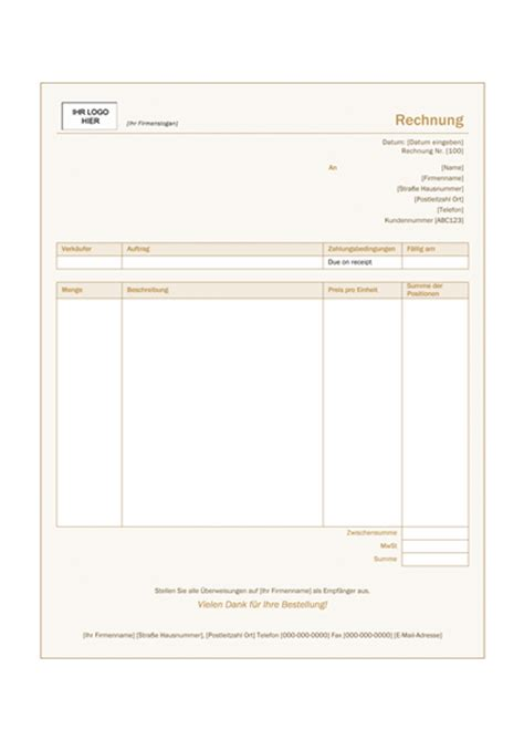 Outlook Design Vorlagen Dienstleistungsrechnung Design Quot Siena Quot Office Templates