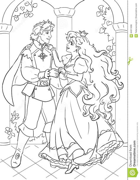 little mermaid castle coloring page prince and fairy tale beauty heroine stock illustration