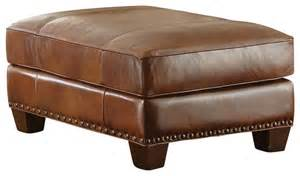 Brown Leather Ottoman Steve Silver Silverado Ottoman In Caramel Brown Leather