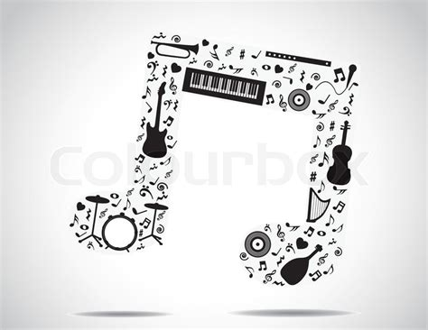 music note icon made up of different musical instruments