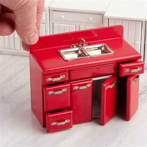kitchen sink and cabinet set dollhouse miniature red retro kitchen sink and cabinet set