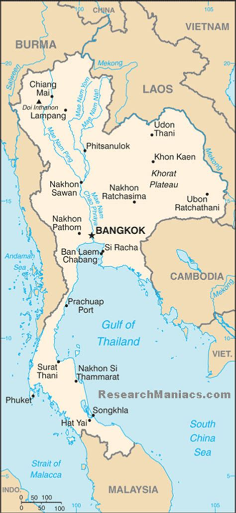 map of thailand country where is thailand located
