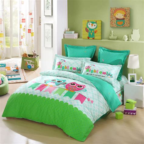 pink and lime green bedroom lovo kid s best friends owl 100 cotton 4pcs bedding set