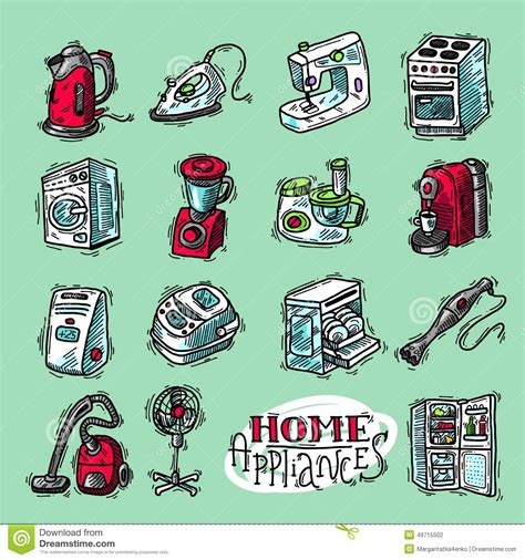 doodle home home appliahces stock vector image 49715502