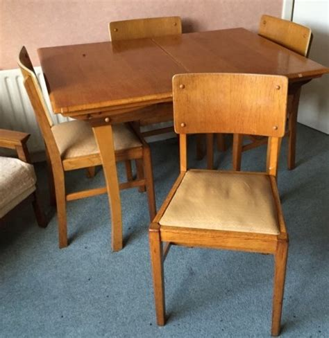 mid century early 1950s extending dining table and 4