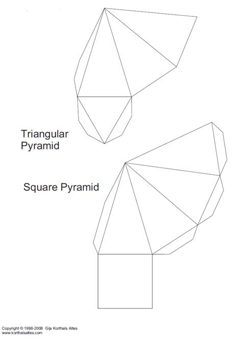 Triangular Pyramid Template net triangular pyramid lots of templates for shapes for