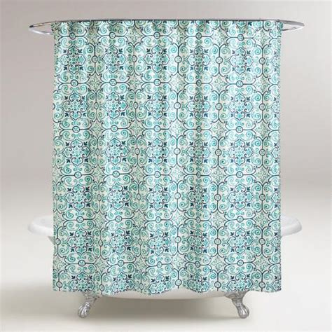 world market shower curtain turquoise tile shower curtain world market