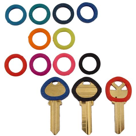 colored key covers key identifer rings and collars for sorting