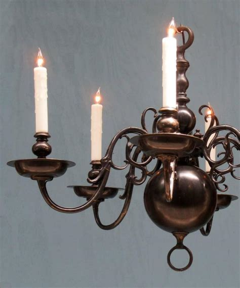 Colonial Brass Chandelier Early 20th Century American Colonial Black Patinated Brass Chandelier At 1stdibs