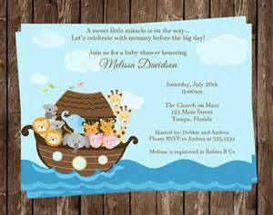noahs ark baby shower invitation miracle religious gender