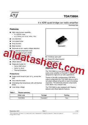 Tda 7388 By Elektronik Parts tda7388a datasheet pdf stmicroelectronics