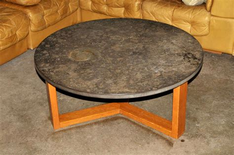 Limestone Coffee Table by Mid Century Limestone Coffee Table With Fossils