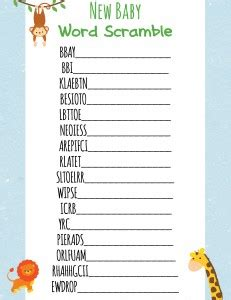 printable animal word scramble jungle theme baby shower printable games frugal fanatic