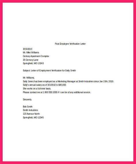 Employment Verification Letter Template salary verification letter bio letter format