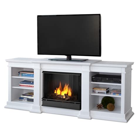 Gel Fireplace Tv Stand by Shop Real 71 73 In Gel Fuel Fireplace At Lowes