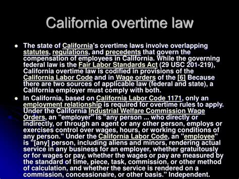california labor code section 201 ppt overtime powerpoint presentation id 4172226