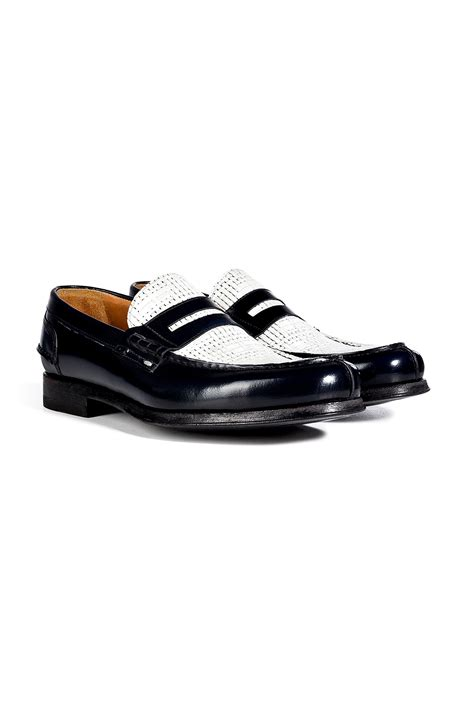loafers black and white lyst paul smith leather twotone konrad loafers in