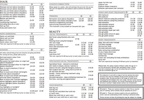 list of hairstyle prices brooks hair beauty 187 gift vouchers price list