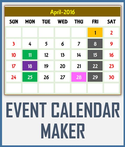 make an event calendar free excel calendar template excel calendar 2018 2019 or any