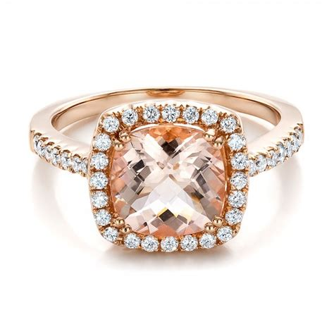 antique cushion morganite and halo ring 100456