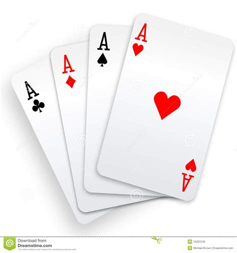 four aces playing cards poker winner hand royalty free