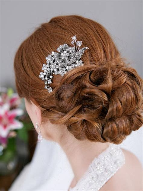 Wedding Hair With Brooch by Hair Comb Rhinestone Bridal Hair Comb Vintage