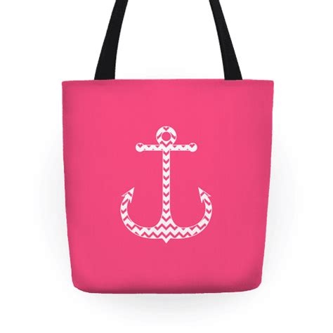 Tote Bag Chevron Pink White chevron anchor tote pink and white tote bag lookhuman