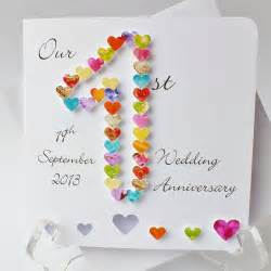 1st wedding anniversary card handmade personalised
