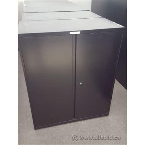 Teknion Black 36x18x42 2 Door Metal Storage Cabinet 2 Door Storage Cabinet Black